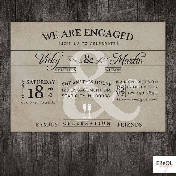 Engagement Party invitation - Wedding announcment - vintage - printed or DIY