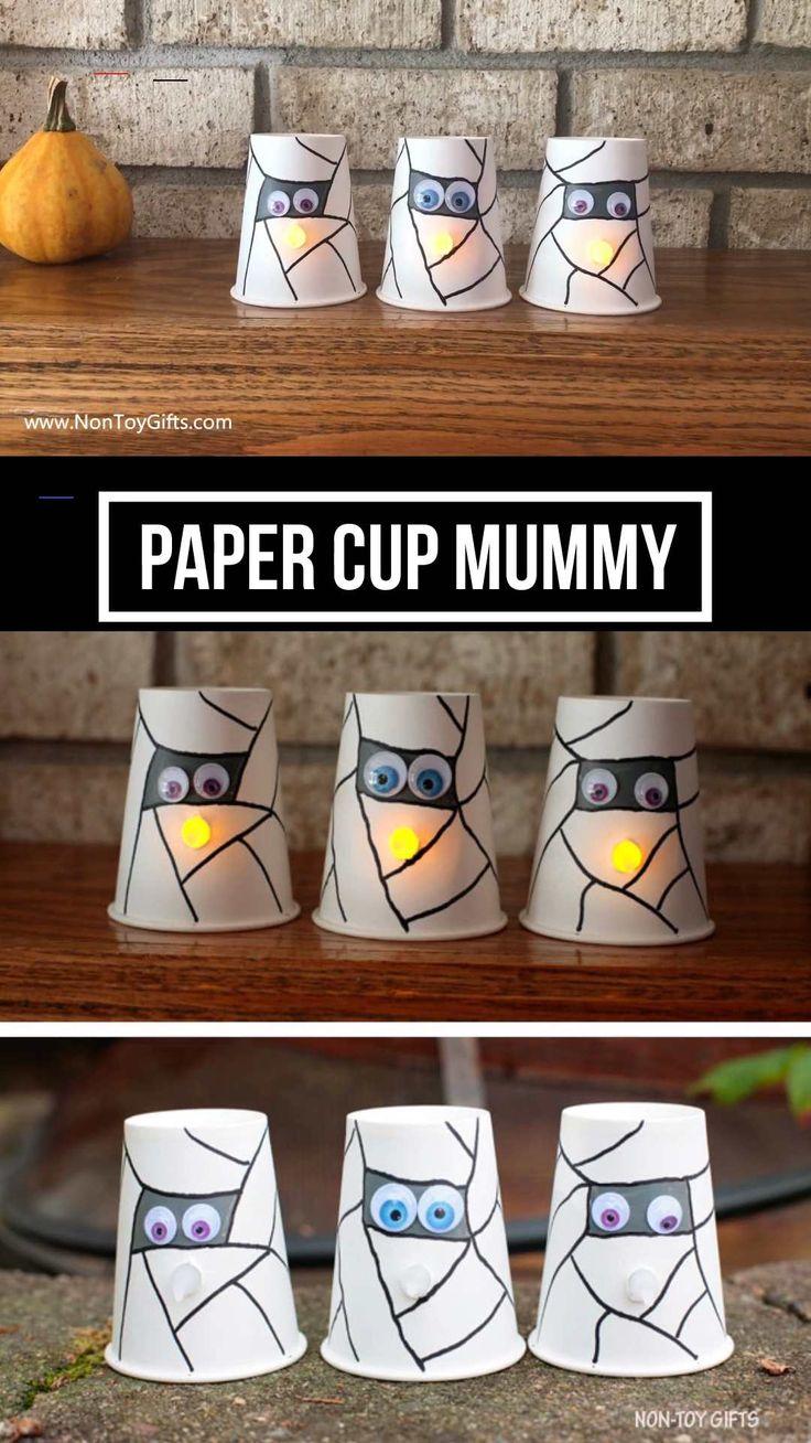 Halloween paper cup mummy craft