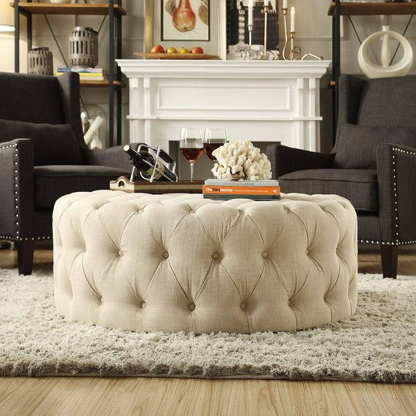 HomeVance Vanderbilt Round Tufted Cocktail Ottoman, White ($520) ❤ liked on Polyvore featuring home, furniture, ottomans, white, white tufted ottoman, tufted coffee table ottoman, circular ottoman, round furniture and round cocktail ottoman