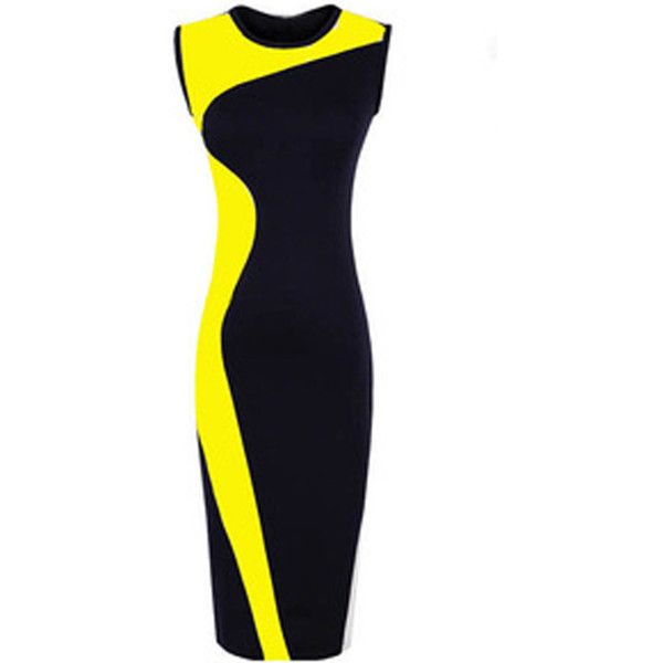 Yellow Two Tone Sleeveless Bodycon Casual Dress (545 UAH) ❤ liked on Polyvore featuring dresses, yellow, yellow body con dress, blue yellow dress, form fitting dresses, blue sleeveless dress and sleeveless dress