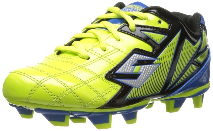 Skechers Kids Teamsterz Kick Soccer Cleat,Yellow/Black,13 M US Little Kid. Lace-up soccer cleat featuring durable patent-finished synthetic upper with stitching accents. Padded tongue and collar. Cushioned insole. Stabilized midsole.