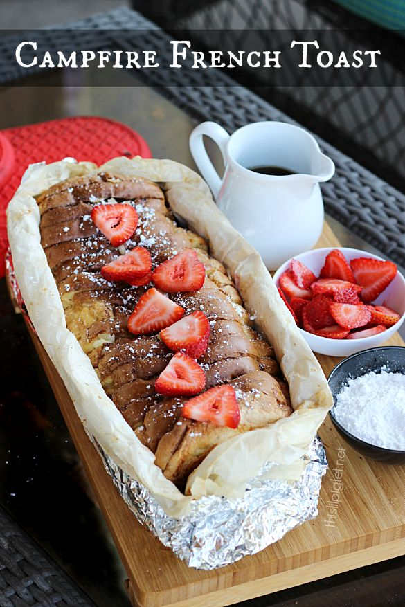 Wait, what???  Campfire French Toast...  I might have to make this when I am NOT camping!  HA!  Great new way to enjoy breakfast outdoors!  #camping #outdoors #cooking