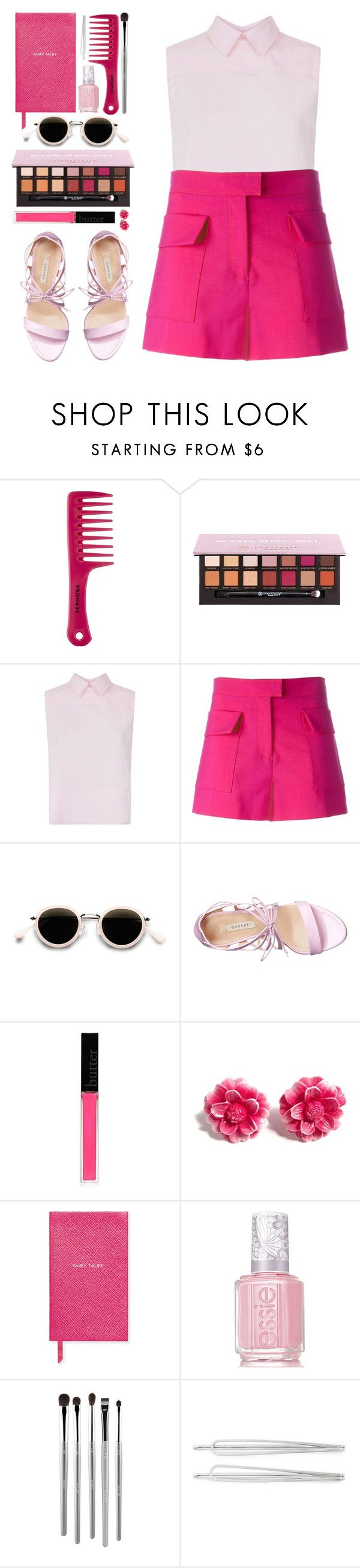 """""""#954 Rose"""" by blueberrylexie ❤ liked on Polyvore featuring Sephora Collection, Anastasia Beverly Hills, Victoria, Victoria Beckham, MSGM, Acne Studios, Casadei, Butter London, Tarina Tarantino, Smythson and Essie"""