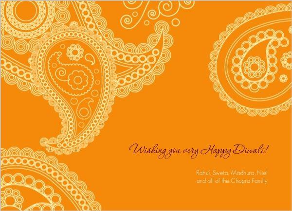 Orange Paisley Diwali Greeting Card