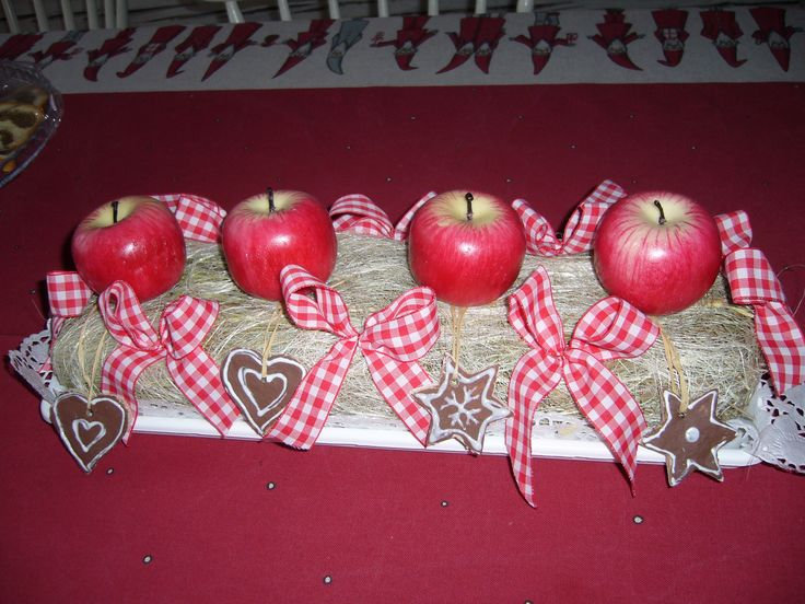 xmas table deco with apple candles-DIY