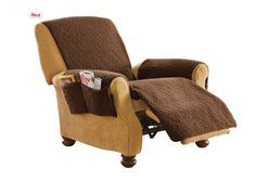 Fleecy Recliner Chair Cover (BROWN) 6-60425