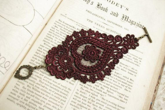 Hey, I found this really awesome Etsy listing at https://www.etsy.com/au/listing/165908509/lace-bracelet-cuff-aghna-merlot-wine