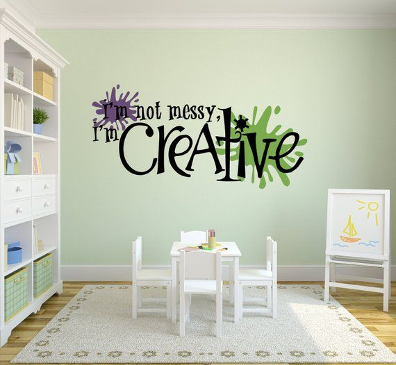 I M Not Messy I M Creative Craft Room Decal With Paint Splats
