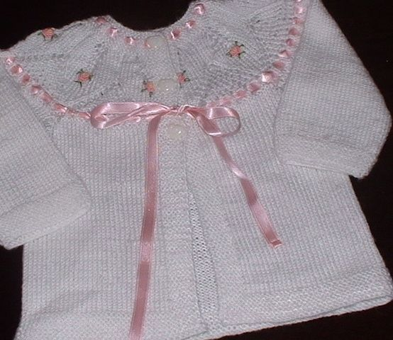 Hand Knitted Baby Sweaters Cardigans Yoke Embroidery