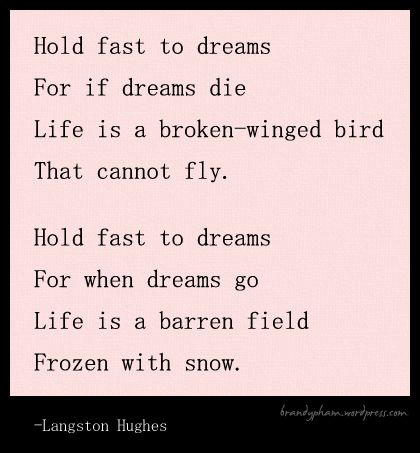 langston hughes poetry Dream deferred (harlem) by langston hughes what happens to a dream deferred does it dry up like a raisin in the sun or fester like a sore--and then run.