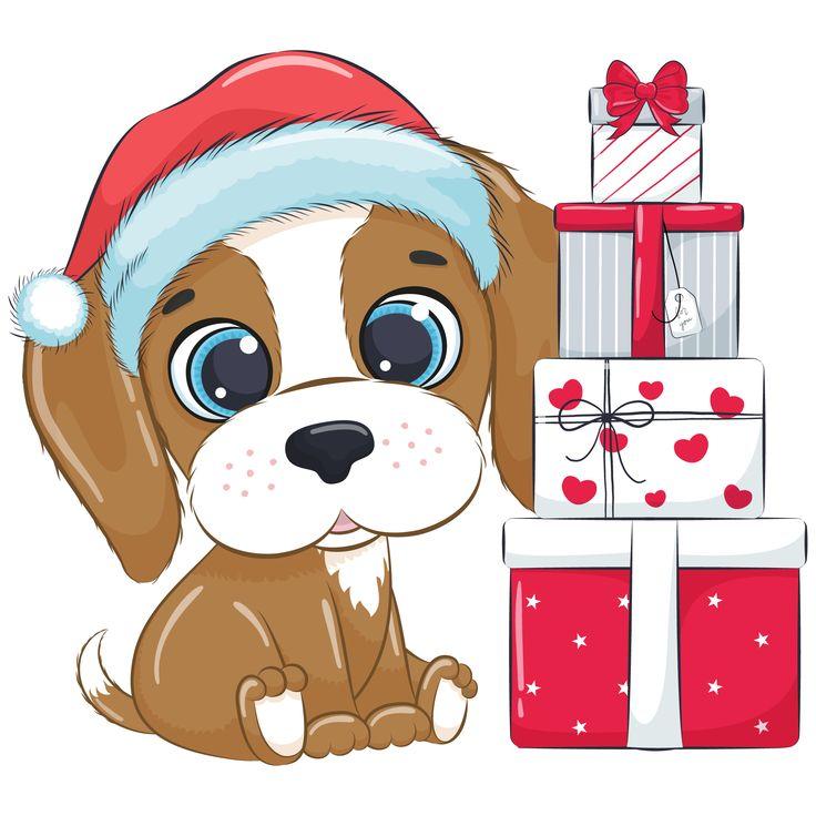 Christmas Dog Clipart Png Eps Jpeg 300 Dpi 937267 Illustrations Design Bundles Christmas Drawing Christmas Ephemera Christmas Dog