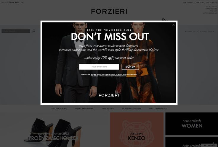 Forzieri email marketing modal popup for newsletter signup. #CTA #emailmarketing