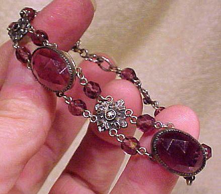 Edwardian CZECH Purple Glass Silver Plate BRACELET 1910 1920