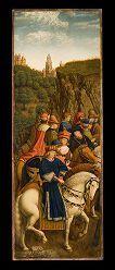 """""""Just Judges"""" - a reproduction of the stolen panel from the Ghent Altarpiece, by the Belgian painter/restorer Jef Van Der Veken (1872-1964).  The Van Eycks' original panel was stolen in 1934."""