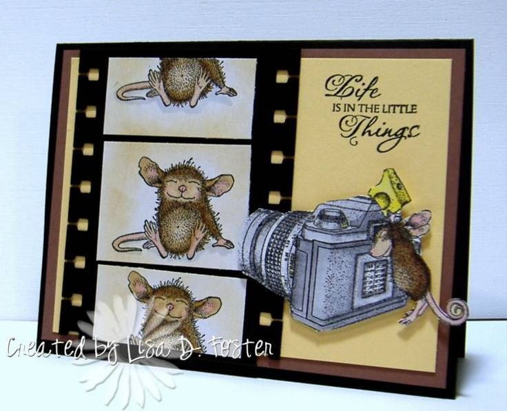 How cute! House Mouse movie film strip with camera birthday card.