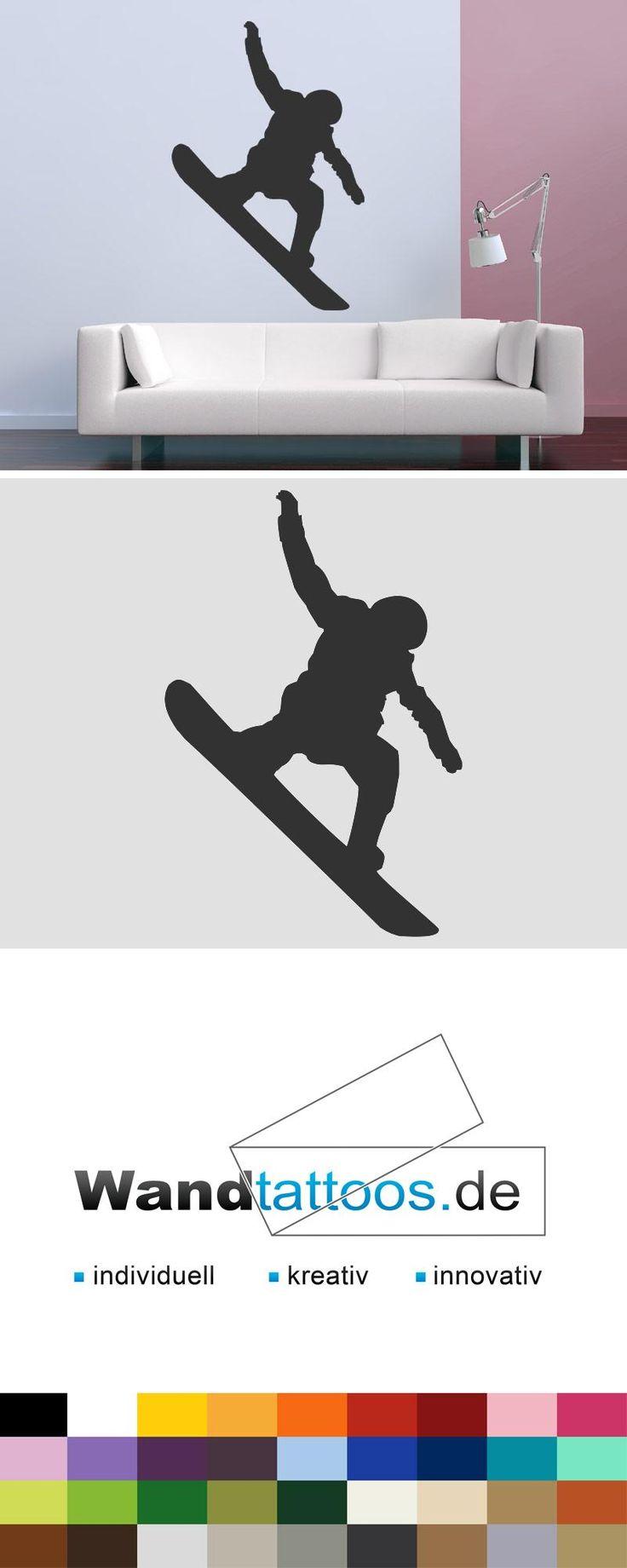 Wandtattoo Snowboarder als Idee zur individuellen Wandgestaltung. Einfach Lieblingsfarbe und Größe auswählen. Weitere kreative Anregungen von Wandtattoos.de hier entdecken!