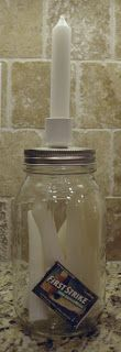 A Jar of Candles with a TWIST!  Today's project will cost about $1.50 to make, but will be a great help in a power outage.  You will need: ...