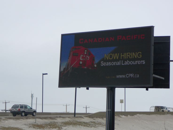 Canadian Pacific Railway used a Digital Billboard in Edmonton's industrial area to put out a recruitment advertisement for seasonal labourers. #recruitmentads #recruitmentstrategy #recruitment
