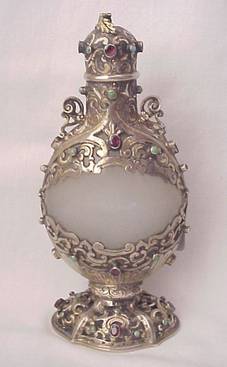 Austro Hungarian Clam Broth Glass and Jeweled Silver Perfume Bottle circa 1850.