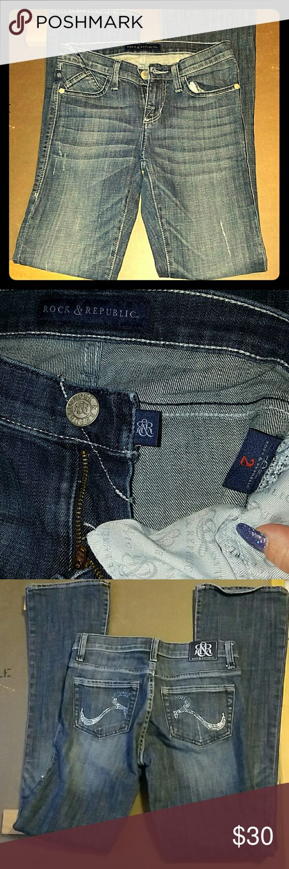 Rock and Republic jeans sz 2 EUC EUC that I never wore as they are too long. I'm petite and these are not. They are awesome with Rhinestones on the back and a distress look on the front. No flaws Rock & Republic Jeans Boot Cut
