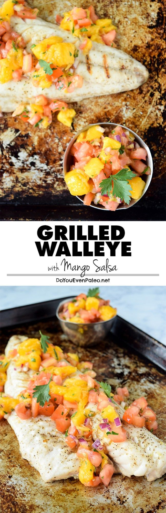 A simple recipe for grilled walleye topped with mango salsa - the flavors of summer, on the dinner table in less than 30 minutes! | DoYouEvenPaleo.net  #paleo #glutenfree #doyouevenpaleo #whole30