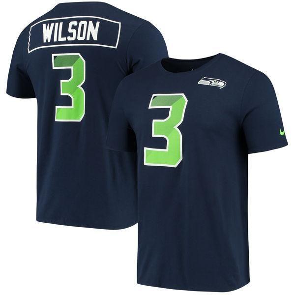 Women's Seattle Seahawks Navy Nike Russell Wilson Prism Player Tee
