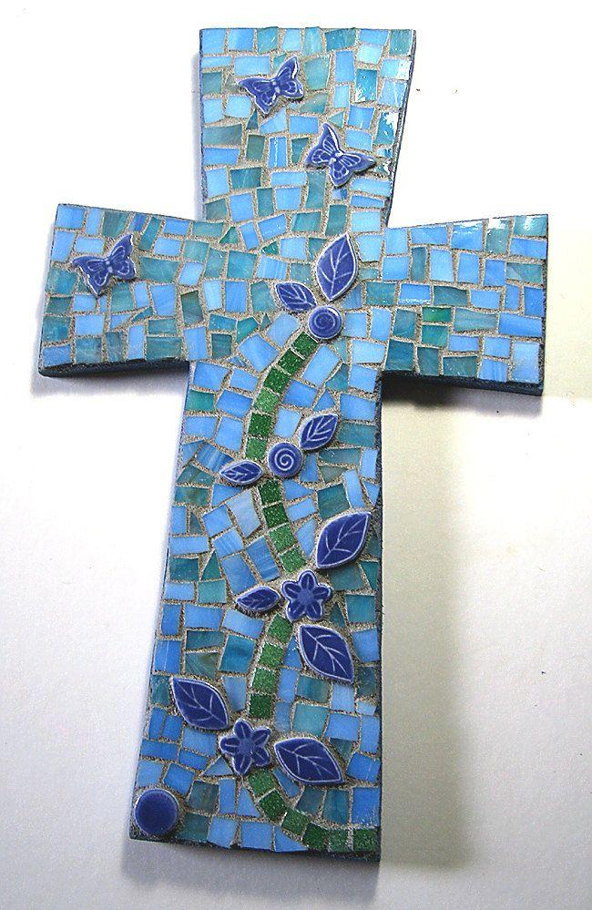 Blue Mosaic Cross Butterfly Vine Wall Hanging