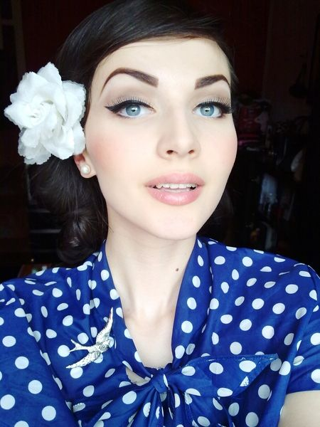 a little too much on the brow but like the eye makeup and with a more colorful lip