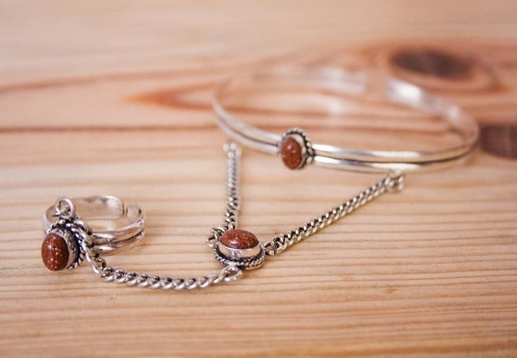 Indian Silver + Goldstone via FILOMENA ∵ Indian Jewelry. Click on the image to see more!
