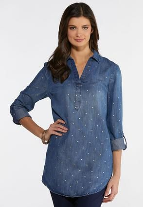bde1f6548941d Plus Size Foiled Dot Chambray Tunic Shirts Cato Fashions in 2019 ...