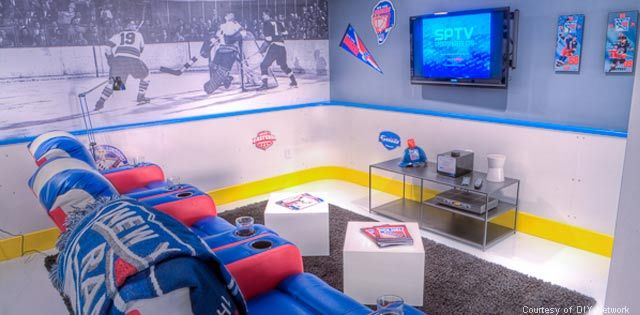OMG HOCKEY MAN CAVE! Only swap NYR for Penguins/Flyers. Yes, they CAN coexist!