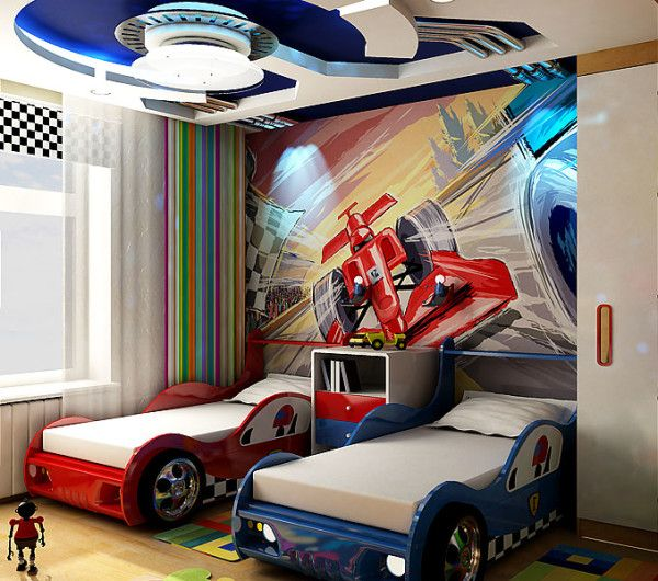 Kid's room ideas -- love the beds!