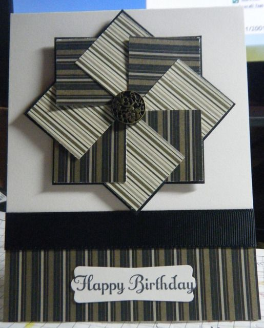 I made this card for my grandfather's 88th birthday, based on a video tutorial at stampwithtami.com/blog/2010/11/pinwheel.  Mocha Morning DSP, Basic Black CS, Black grosgrain Ribbon, SU! Antique brads, SU! Something to Celebrate and Modern Label punch.