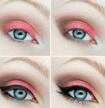 Trucco occhi azzurri con ombretto color corallo