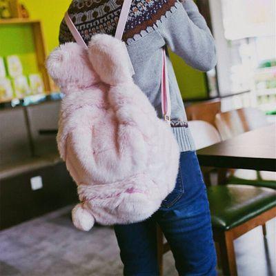 Fluffy rabbit plush backpack | pink black white