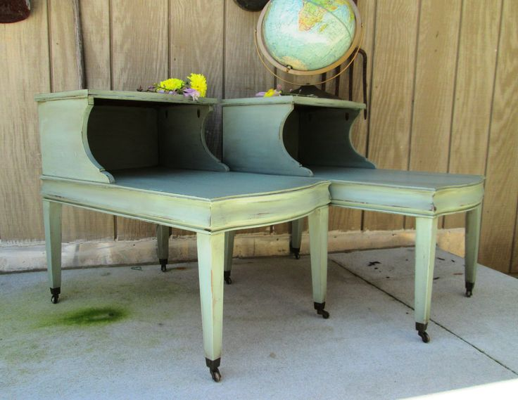 Two Tier Water Green End Tables Shabby Chic, Painted And Distressed Http://