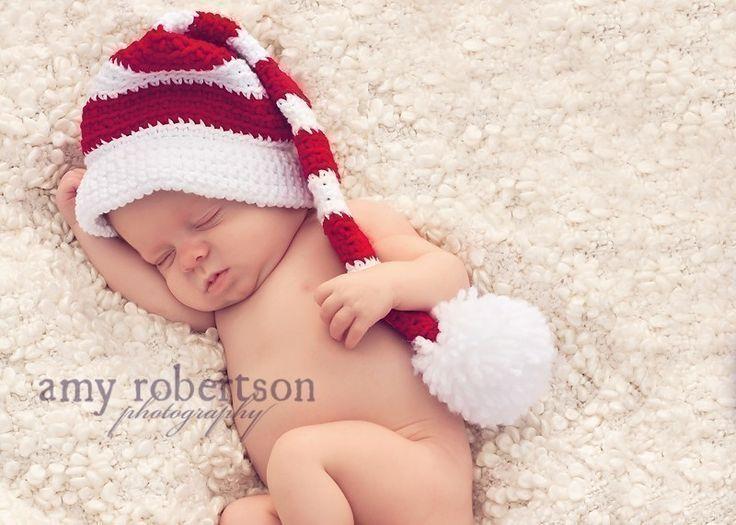 Santa baby hat crochet newborn stocking elf hat crochet infant photo prop 0 m3m6m12m custom order munchkin pixie beanie
