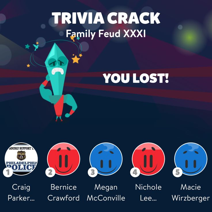 """Bernice Crawford just lost the friends challenge """"Family Feud XXXI"""" in Trivia Crack"""