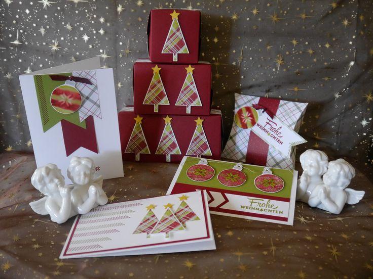 Iets zelfgemaakt is altijd leuk om te geven! Met de Merry Moments Designer Series Paper  en stempelset Lots of Joy van Stampin' Up!, geef je iedere kaart of verpakking een persoonlijk tintje. #kerst #kerstkaarten #Stampinup #DIY #stempelset #stempelen #cadeaudoos