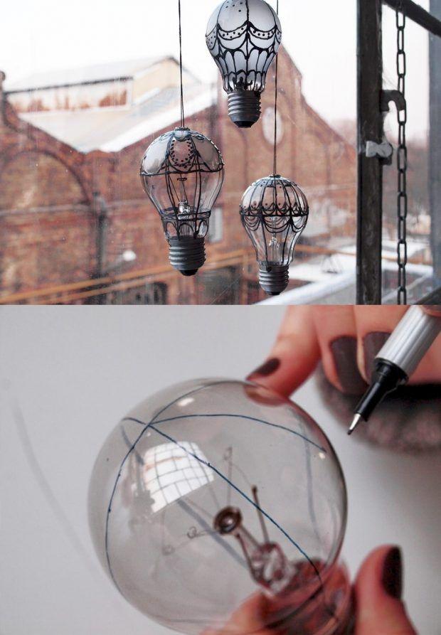 Hermoso colgante de bombillas recicladas - Muy Ingenioso