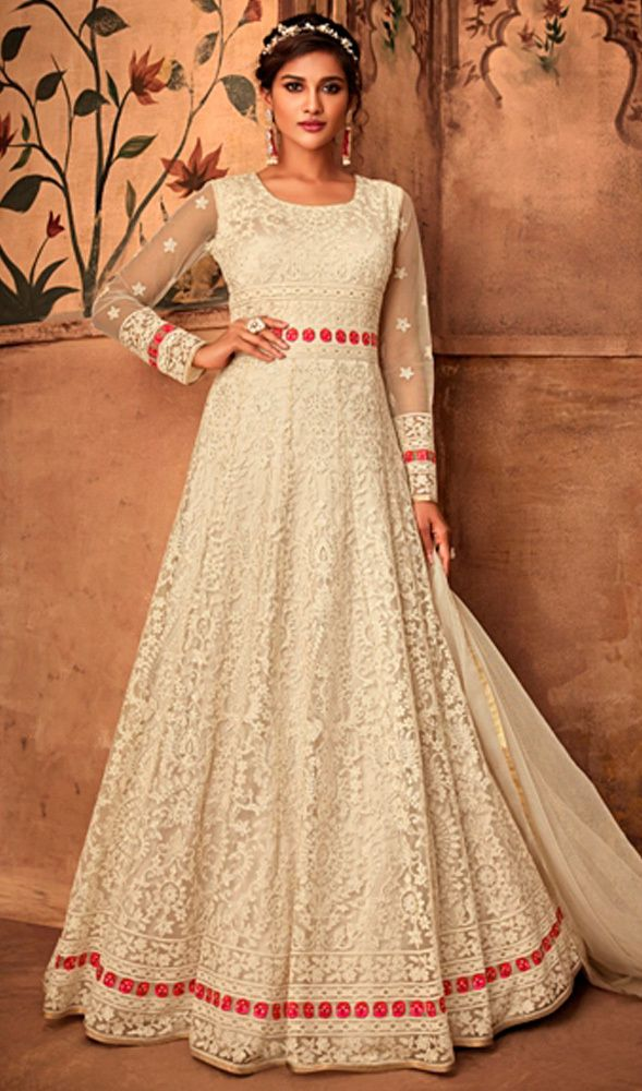 414e3b9933 White Color Embroidered Net Anarkali Suit in 2019   Party Wear Indian  Anarkali Salwar Suits   Anarkali suits, Eid dresses, Designer gowns