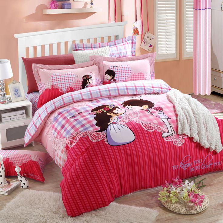 Algodão vermelho lixa grossa denim quatro conjuntos de roupa de cama colcha de casamento de outono e inverno curto pelúcia(China (Mainland))
