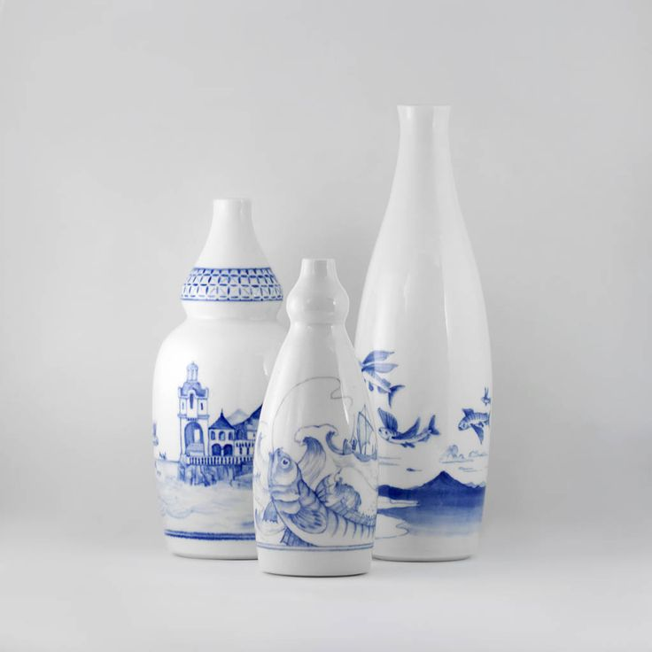 Blue & White porcelain bottles. Made by Geoff & Tegan Mitchell