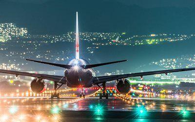 Scarica sfondi luci, piano, notte aeroporto, atterraggio