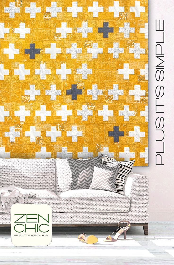 Modern quilt pattern making use of a variety of different textured yellows. The quilt is called PLUS IT'S SiMPLE and used fabrics are FRAGILE by Zen Chic for Moda. Warm saffron hues look very cosy and the simple Plus Pattern is doable even for beginners. Download your PDF instantly here.