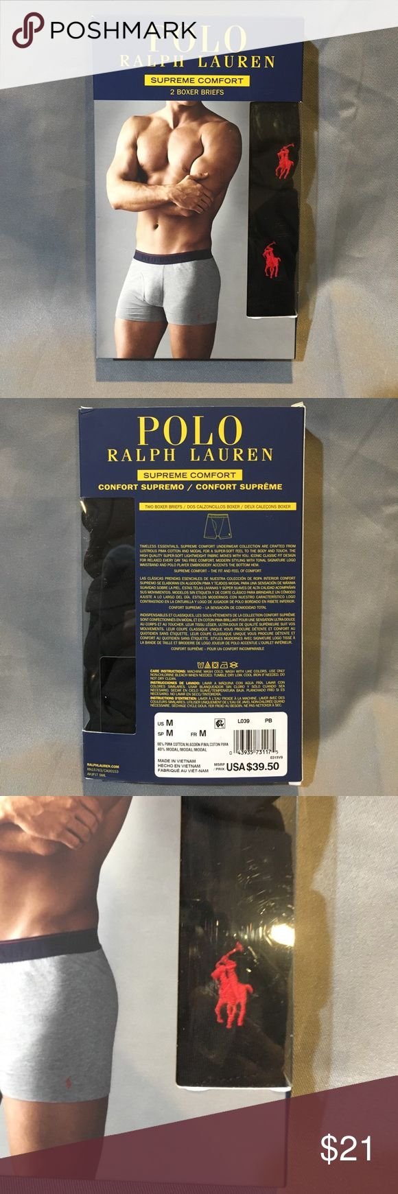 NWT Polo Ralph Lauren Black Boxer Briefs NWT Polo Ralph Lauren Black Boxer Briefs Supreme Comfort.  Black with a red logo.  Available in gray size large and navy size medium. Polo by Ralph Lauren Underwear & Socks Boxer Briefs