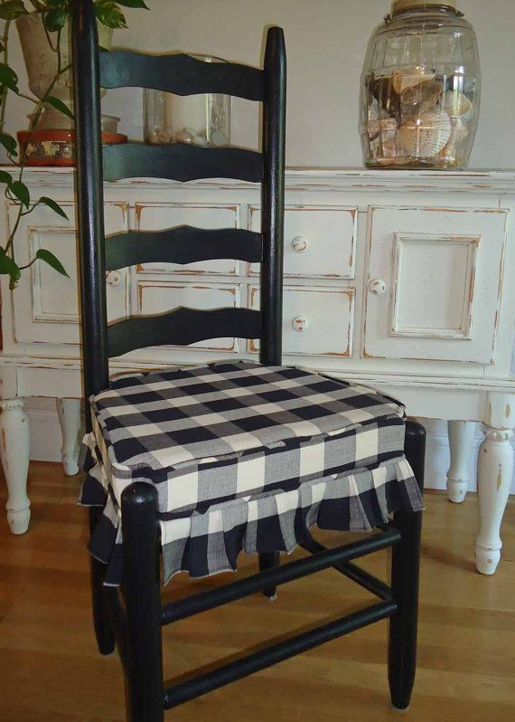 Mr And Mrs Vintage Ladder Back Chairs Black And Cream Buffalo Square Check Ulphostered Sea With Images Kitchen Chair Cushions Black Kitchen Chairs Slipcovers For Chairs