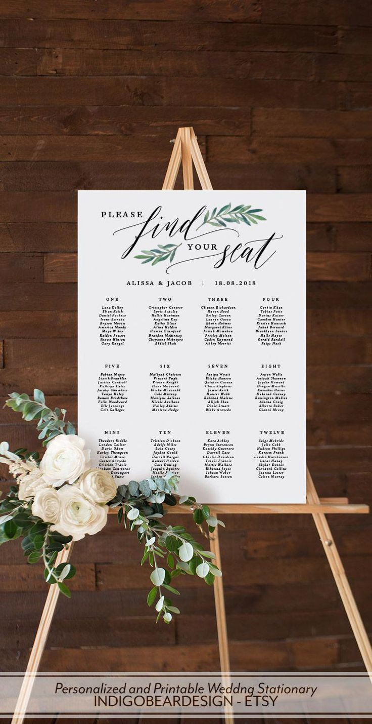 Greenery Seating Chart Wedding, Printable Seating Plan Sign, Find Your Seat Awaits Template, Wedding Table Plan, Alphabetical Numerical A1