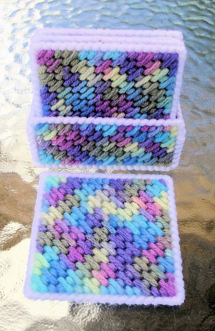 Blue square coasters plastic canvas plastic canvas for Plastic canvas crafts for kids