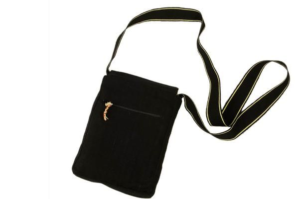 Fair trade, black cross body bag from Guatemala. All handmade.